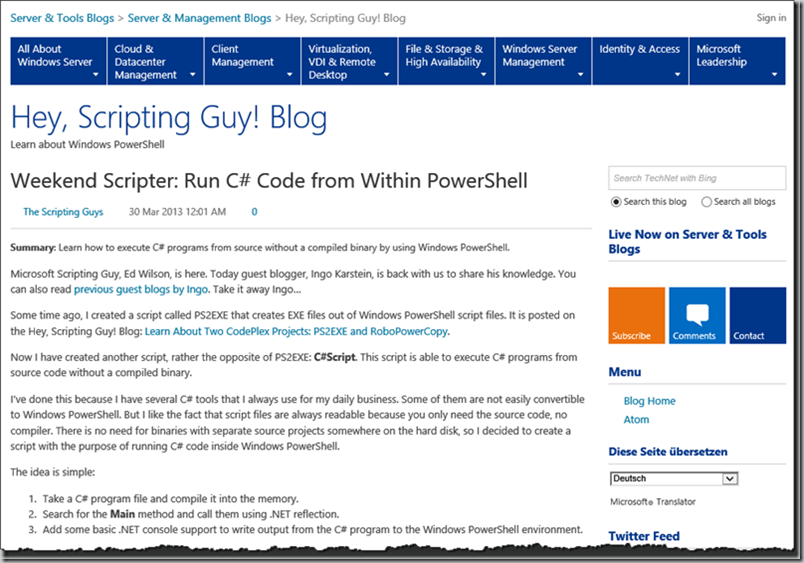 Guest blog article on hey scripting guy blog weekend Execute c code
